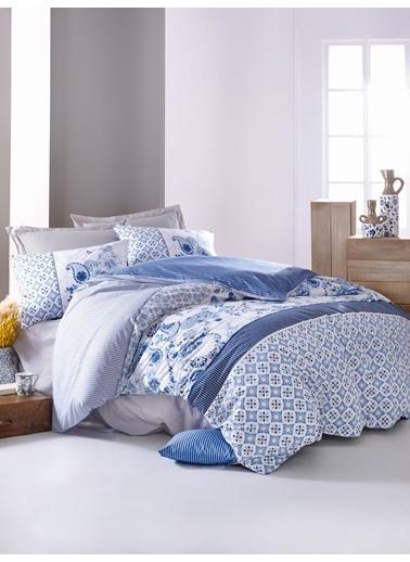 Cotton Box Ranforce Çift Kisilik Nevresim Takımı Milo Mavi Mavi